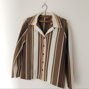Vintage 70's thick polyester striped brown S/M